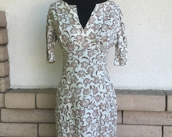 SALE 60's Linen Earth Tone Print Wiggle Dress Size Small