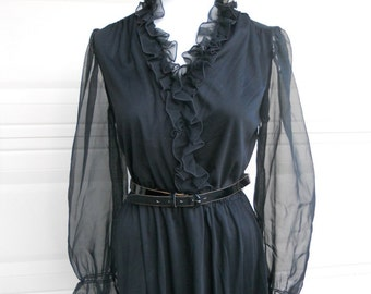 SALE 1970s Black Sheer Wrap Dress. Ruffle Party Dress
