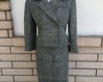 Vintage 50s Tweed Skirt Suit w/Matching Coat . Tweed Swing Coat . 1950s Coat Size Small