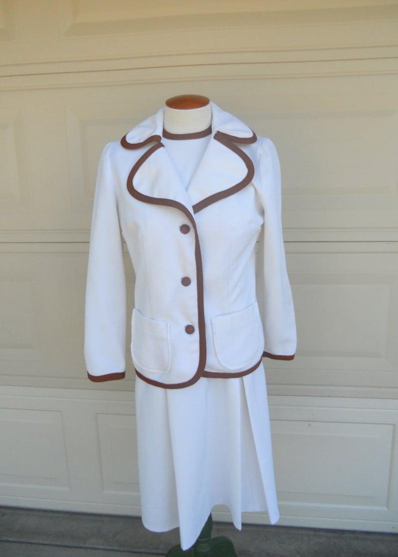 e58cff9775f Vintage 60s 70s Mod White Dress Jacket Set Sleeveless