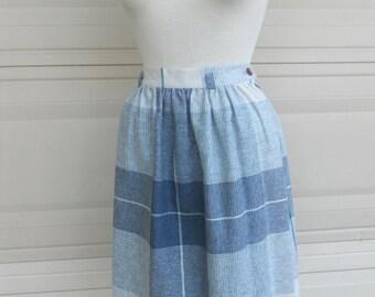 70s plaid skirt . blue gray high waist skirt . U.S. Clothing Co.