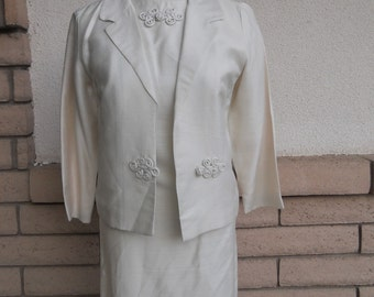 Wedding Suit 1960s Silk Cocktail Party Dress and Jacket by R & K Originals Size XS-S