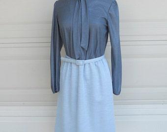 SALE 70s Shirtwaist Ascot Dress . Gunmetal Metallic Gray . 3 Piece