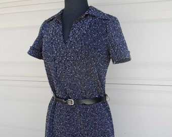 SALE Vintage 70s Black and White Textured Tweed Dress w/Leather Belt S-M