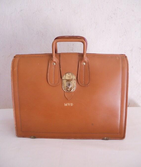 50s 60s Leather Briefcase / MVD Salesman Case by D