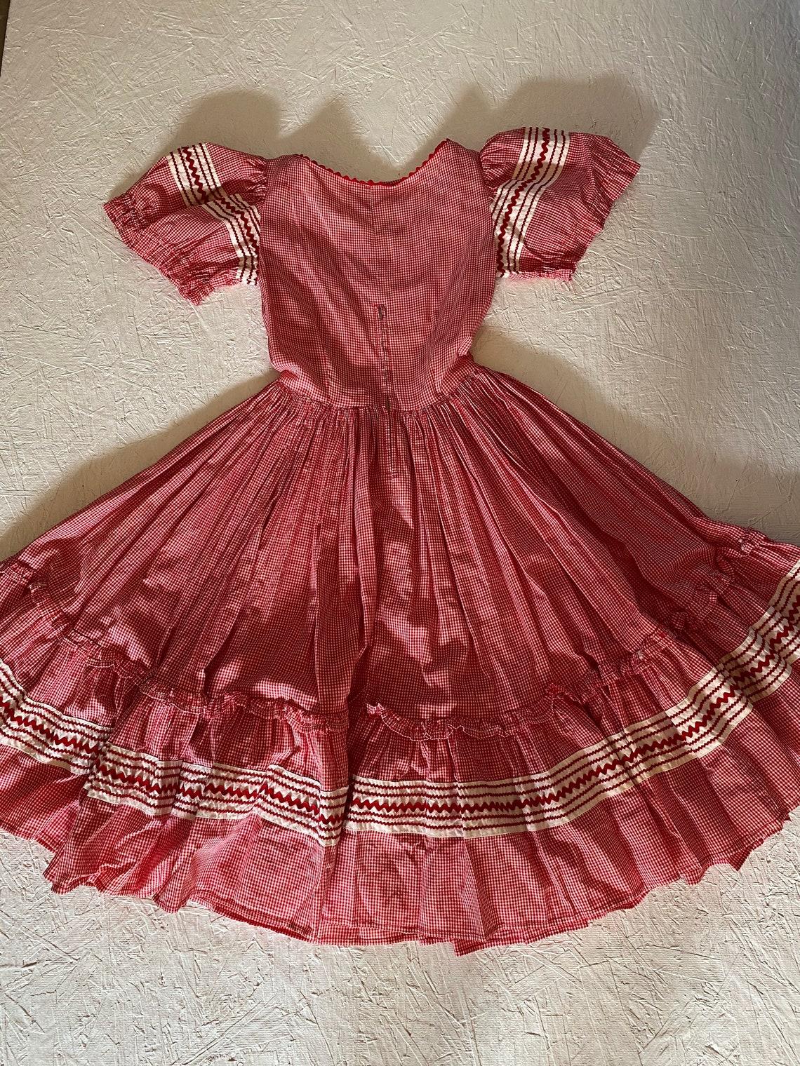 Vintage 50s 60s Square Dance Dress Red Gingham Full Circle