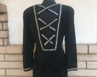 Vintage 80s Black Suede Stud Rhinestones Cage Mini Dress Size Medium