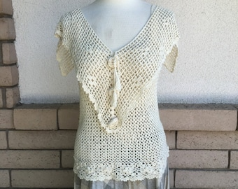 70's Crochet Knit Top Sheer Open Weave Size Small