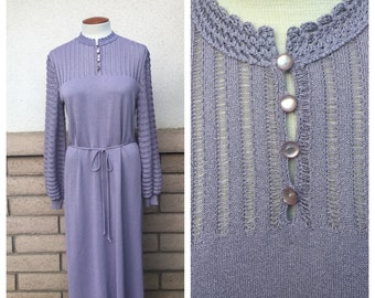 Vintage Lavender Lilac Knit Dress 80s Pointelle Midi Column Dress by Castleberry Size 16