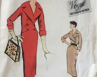 50s Vogue Dress Pattern Vogue Couturier Design 991 w/Label 32 Bust