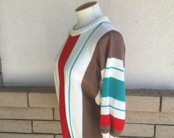Vintage 80s Striped Pullover Sweater Top Red Brown Green Dolman Sleeves Size L