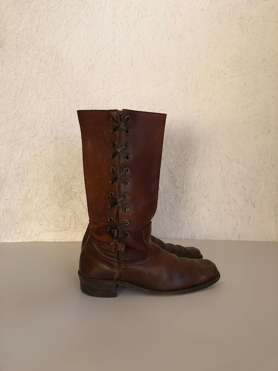 Vintage 60s 70s Leather Lace Up Boots Brown Corset