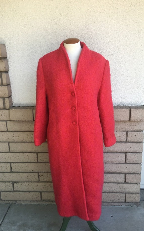 50s 60s Hot Pink & Orange Mohair Coat Long Mad Men
