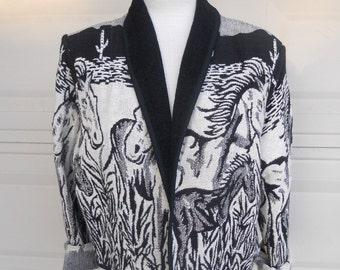 Vintage Black & White Horse Print Jacket Cropped Length Size XL