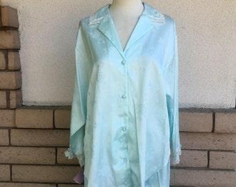Vintage Lace Pajamas Jacquard Shirt & Pants Mint Green by Miss Elaine New w/Tags Size L-XL