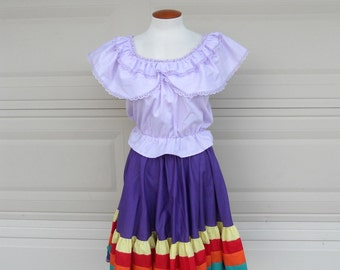 Vintage Square Dance Skirt . Rainbow Stripe . Full Circle Skirt . New without tag