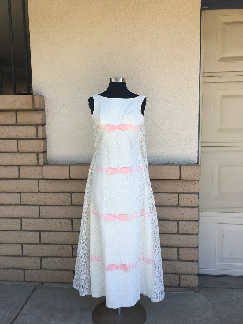 630b7b244e992 Vintage 60s 70s White Lace Maxi Dress w/Pink Ribbon Bows Prom   Etsy