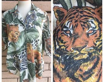 80s Jungle Shirt Green Safari Blouse Zebra Lion Tiger Button Up Top Size L-XL