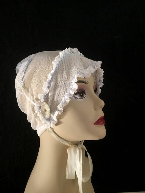 Vintage Antique Bonnet Embroidered Bonnet Net Wome