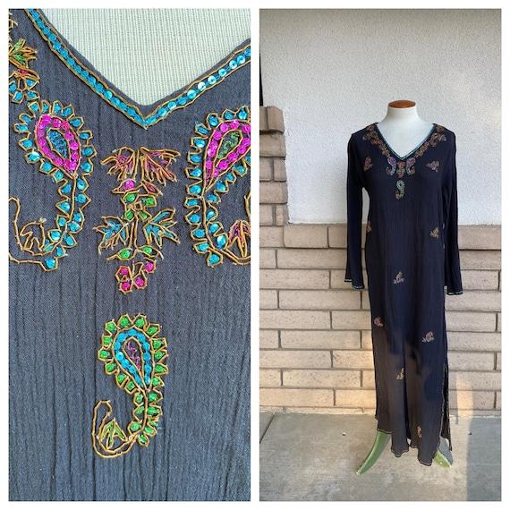 Vintage Black Gauze Phool Dress with Beading Loung