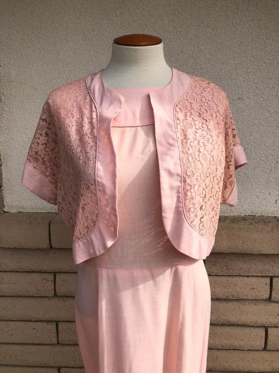 Vintage 50s Dusty Pink Dress + Lace Bolero Jacket… - image 2