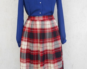 60s Pleated Skirt . Red Blue Plaid . HIGH WAIST . School Girl Midi Length S-M