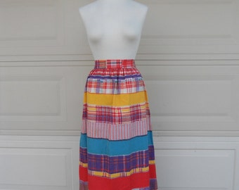 SALE Vintage 70s Maxi Skirt . Striped High Waist Cotton Skirt . Hippie Long Tie Back Waist 28