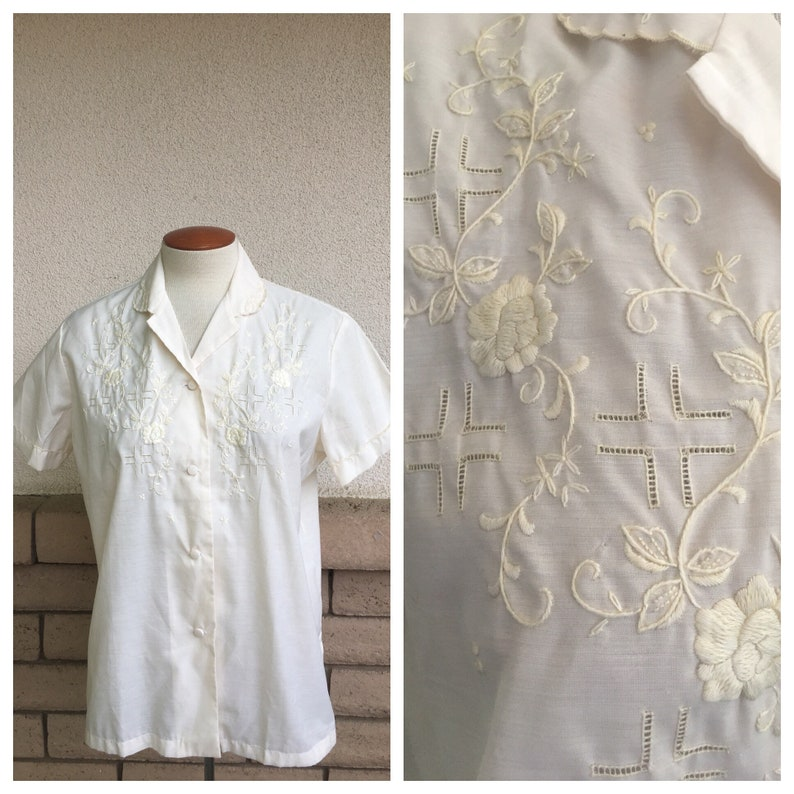 b137c80594969 Vintage Off White Hand Embroidered Blouse with Cutwork Summer Top Daffodil  DEADSTOCK XL