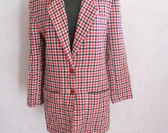 SALE Vintage Wool Blazar Red and Black Houndstooth by Paul Stanley Size S-M