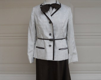 SALE 60s Dress Set .  Dress and Jacket Brown Checked . by Robert Leonard I Magnin