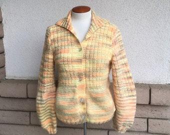 Vintage 70s Autumn Hand Knit Cardigan Sweater Small Medium