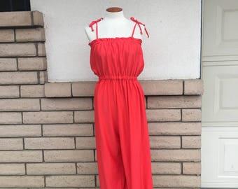 80s Red Jumpsuit Harem Jumpsuit Tie Shoulder Full Length Romper Size Medium