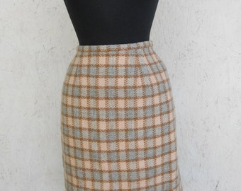 SALE Vintage 60s Checked Wiggle Skirt . Peach and Blue Wool by Komay