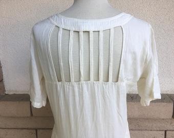 Vintage 80s Embroidered Ivory India Dress CAGE BACK Boho Midi Dress Extra Large Plus Size