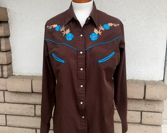 Vintage Western Shirt, 80s Turquoise Embroidered Shirt w/Pearl Snaps by Ely Country Charmers