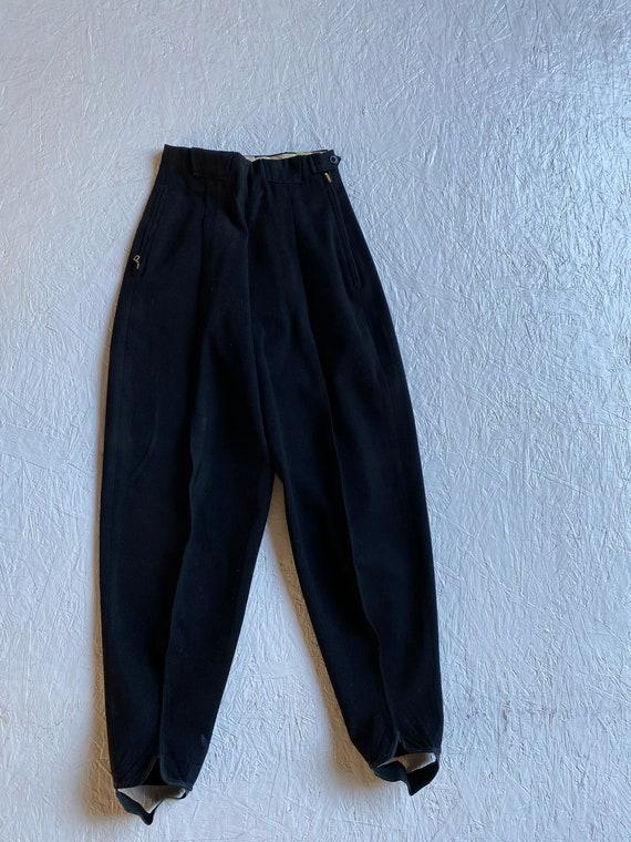 Vintage 40s Black Wool Ski Pants High Waist Tapere