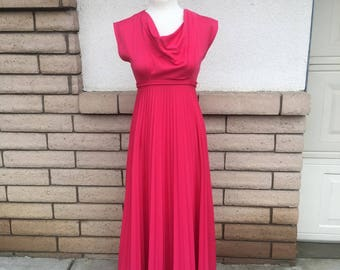 Draped Maxi Dress Cranberry 1970's Pleated Grecian Tie Back Dress Size Small