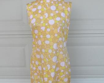 Vintage Yellow Shift Dress 60s Geometric Pastel Pink Print Sleeveless Summer Dress M-L