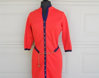 SALE 60s Red Button Up Dress by Nardis of Dallas Small