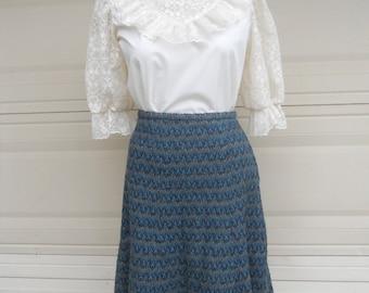70s Wool Skirt . English Flared Skirt . Woven Midi Skirt by Windsmoor . Waist 28-29