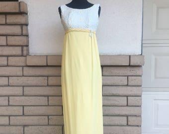 Vintage 60s 70s Emma Domb Yellow Empire Waist Maxi Party Dress w/Daisy Bodice Size XS