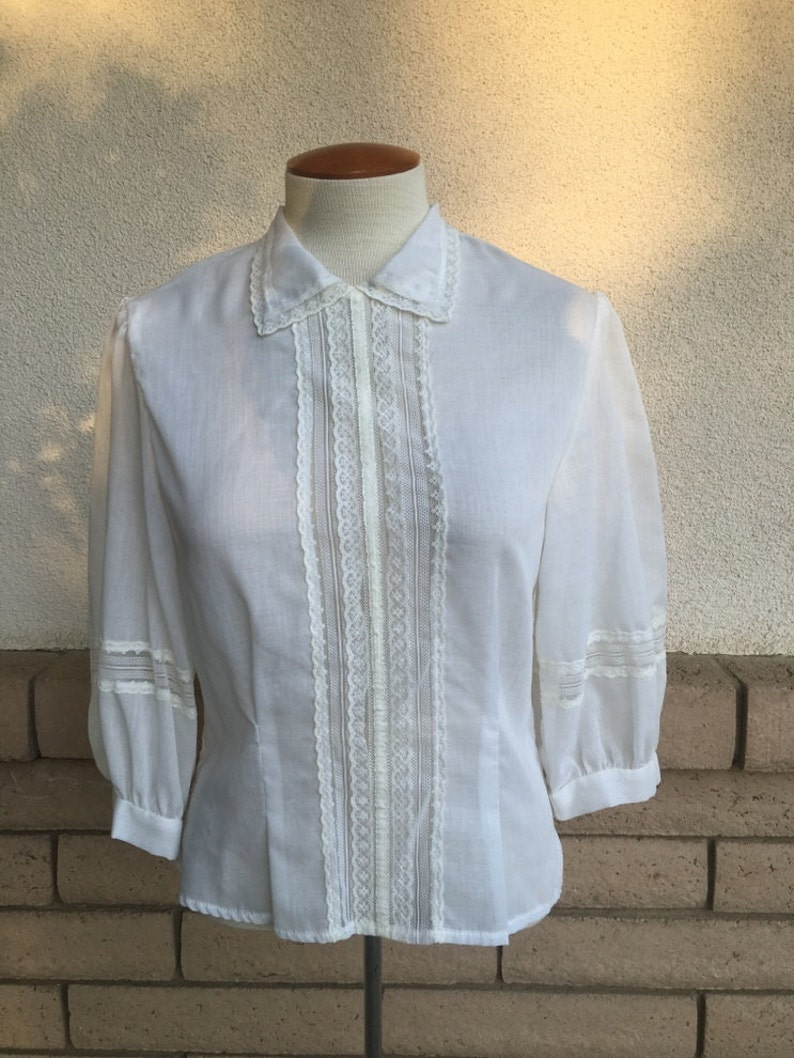 95e7672fbb722 Sheer Victorian Blouse w/Lace . 1970's Hippie Button Back Top Size Small