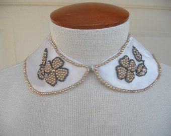 Vintage 50s Women's, Bead Collar, Beaded Collar, Pearl Peter Pan Collar, Made in Japan