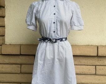 SALE Shirt Waist Dress 80s Navy Blue Polka Dots and Peter Pan Collar Size Small