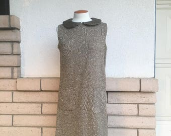 60s Tweed Shift Dress With Leather Peter Pan Collar M-L