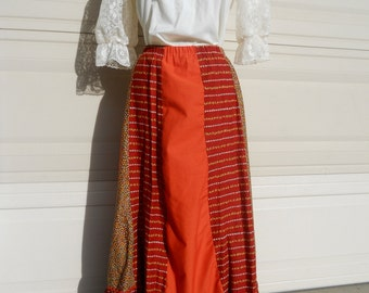 70s Hippie Peasant Skirt . Rust Boho Maxi Skirt by Carefree Fashions . Large