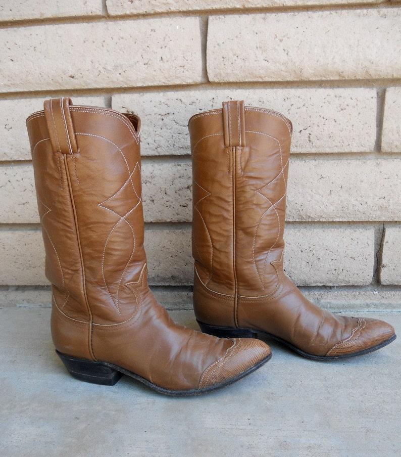 694a6c4c2bf Vintage Mocha Brown Tony Lama Cowboy Boots Ladies Size 6 Narrow FREE  SHIPPING