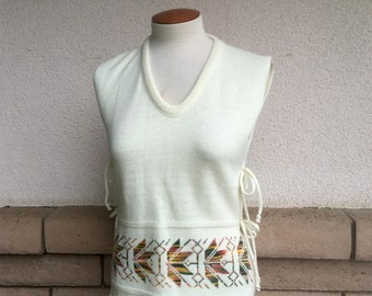 70s Sweater Vest With Open Sides Knit Top Autumn Leaf Print One Size