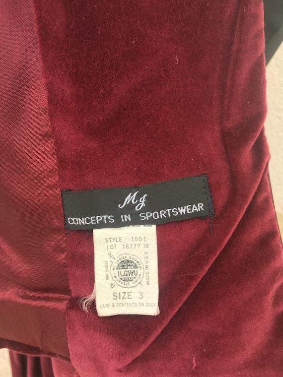 Vintage 70s Cranberry Red Velvet Skirt Suit Puff … - image 6