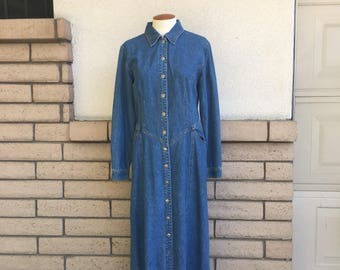 Vintage Denim Maxi Dress 80s Stone Washed Long Sleeve Blue Jean Dress Size 8 Medium